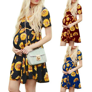 Maternity-Womens-Floral-Short-Sleeve-Pregnancy-Summer-Beach-Party-Dress-Cocktail