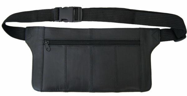 Genuine Real Leather Travel Organizer Bum Bag Hide Money Waist Belt Fanny Pack
