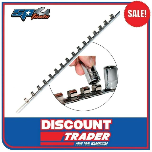 """SP Tools 1/4"""" Square Drive Empty Socket Rail - Holds Up To 16 Sockets - SP201R"""