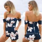 Women Off Shoulder Strapless Floral Playsuit Summer Beach Jumpsuit Mini Dress