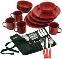Coleman 24piece Enamel Dinnerware Set, New, Free Shipping on sale