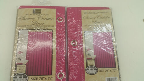 2 Pack Vinyl Shower Curtain Light Weight 3 Gauge Liner Bright Solid Colors