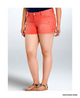 Torrid Womens Plus 24 3x Ripped Jean Shorts Faded Red Coral Denim Stretch