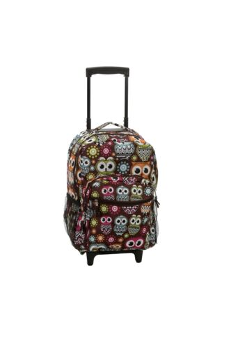 One Size Owl Rockland 17 Inch Rolling Backpack
