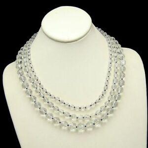 EXPRESS-3-Multi-Strand-Vintage-Crystal-Beads-Necklace-Striking-Pretty-Sparkling