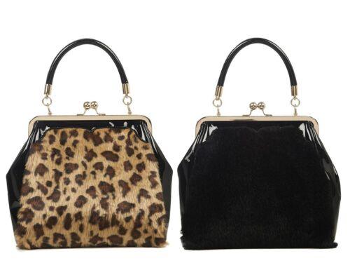 Banned Beaujolais Faux Fur Leopard Retro Top Handle Bag 1950s Rockabilly Handbag