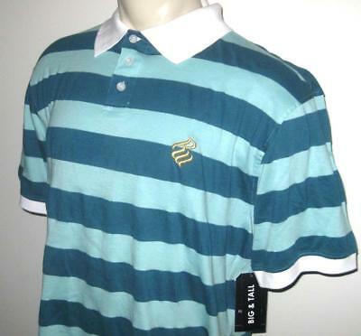 Blue//Striped Chaps Mens Pullover Polo Shirt Size 4XB