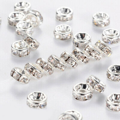 100 Pcs//Set Clear Round Loose Spacer Beads For Bracelet Jewelry Making