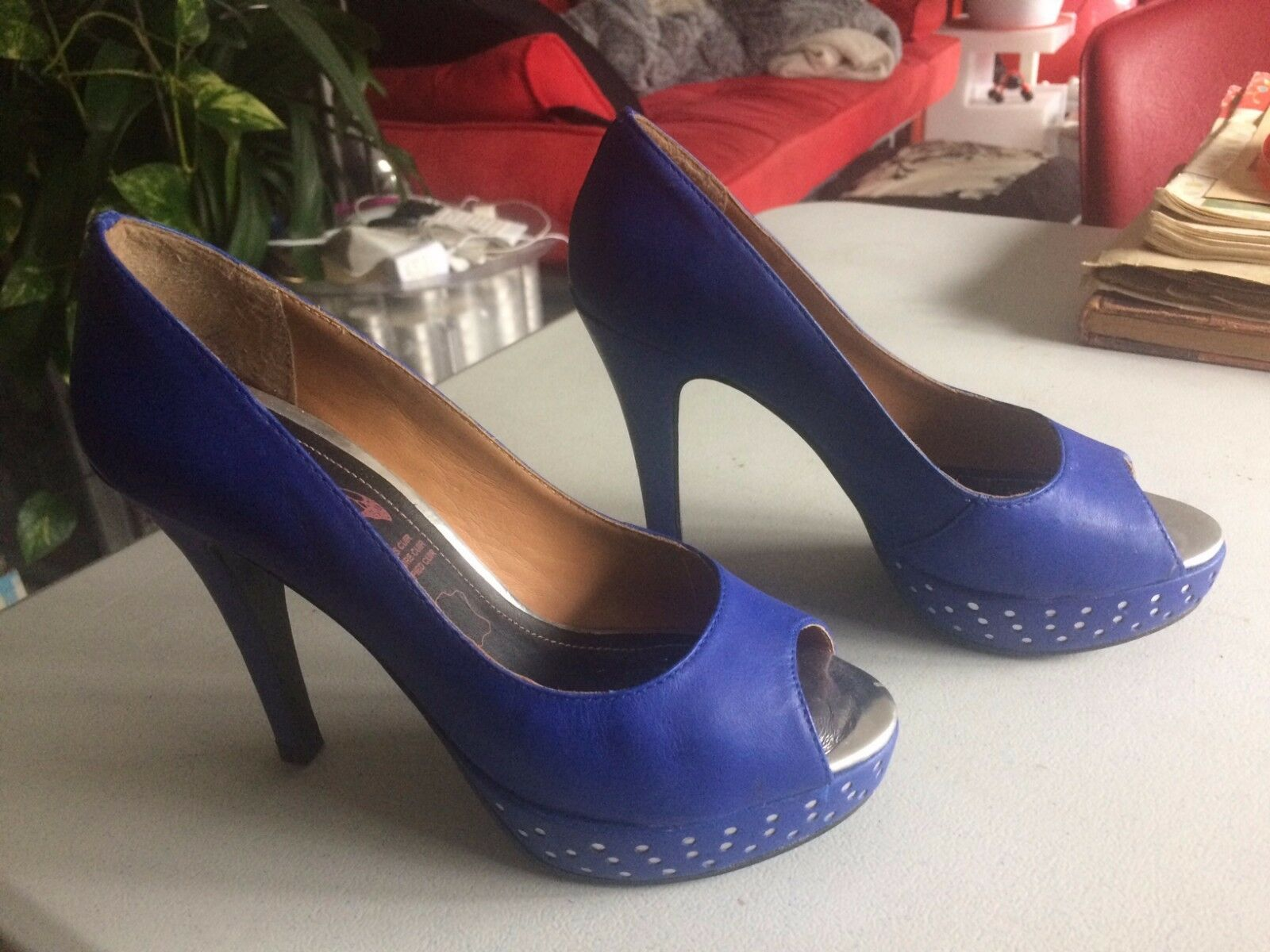 Magnifiques Peep-toes escarpins à bout ougreen Face to Face T36 blue & silver TBE