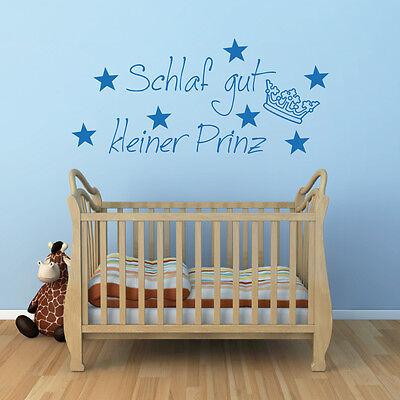 Schlaf gut kleiner Prinz wandtattoo sprüche Baby Kinderzimmer A132