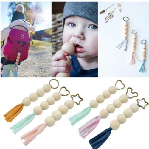 Handmade Wooden Dummy Clip Chain Beads Tassel Teether Baby Pacifier HZ