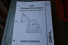 Gehl 1202 Mini Excavator Trackhoe Crawler Parts Manual Book Catalog List Spare