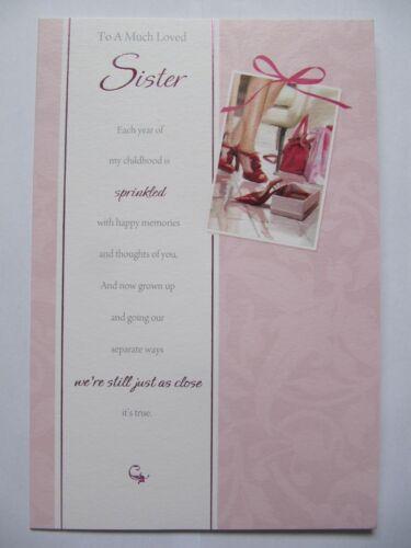 Magnifique chaussure coloré shopping à un très aimé soeur Anniversaire Carte de vœux