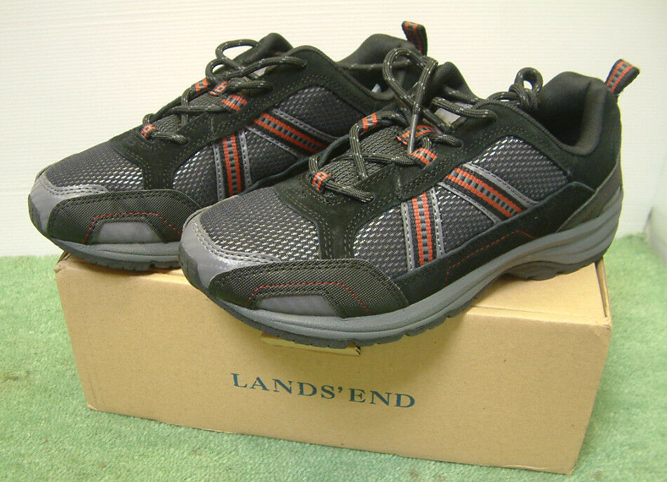 Lands End Trekker Trainers shoes Black Grey Red Trim Size 6 UK
