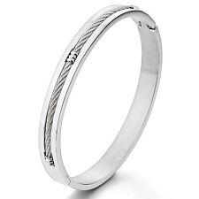 MENDINO Women's Men's Stainless Steel Bracelet Cable Polished Bangle Silver 8mm
