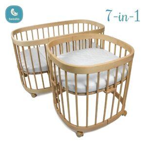 Tweeto Babybett Set Buche 7 Funktionen Umbaubar Oval Rund Kinderbett