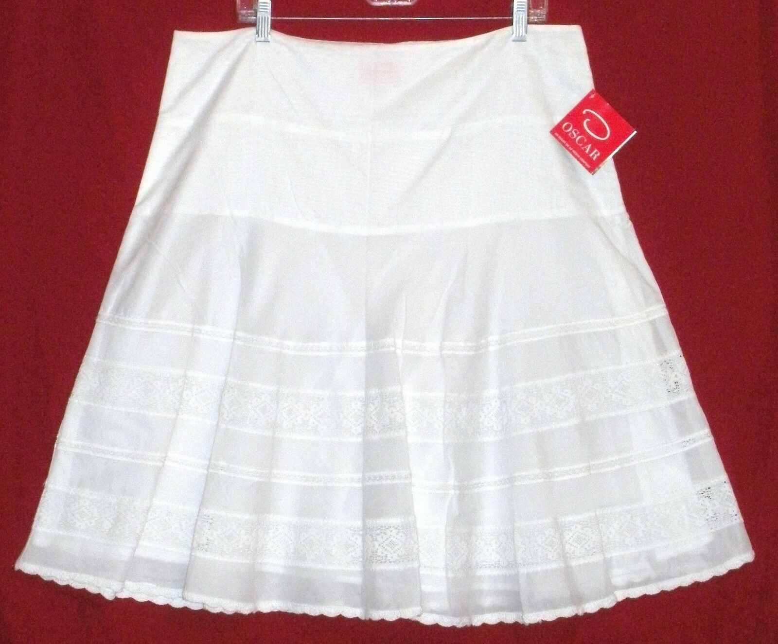 New With Tag  OSCAR DE LA RENTA Women's White Skirt Size 16, MSRP  129