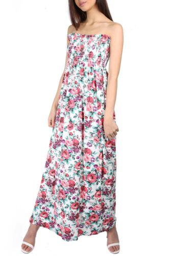 Femme femmes imprimé froncé bandeau boobtube rapport long maxi dress plus size