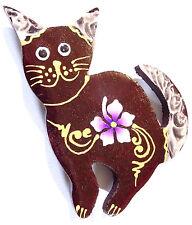 Magnet Aimant Chat Bois Frigo Artisanal Animal cat Fleur wooden
