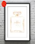 CoCo No5 chanel perfume bottle  Gold Foil Print Vintage Foil Rose Gold Art
