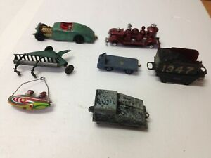 Vintage-Metal-amp-Cast-Iron-Toy-Lot-of-7-Fire-Truck-Car-Tootsietoy-Dinky-amp-others