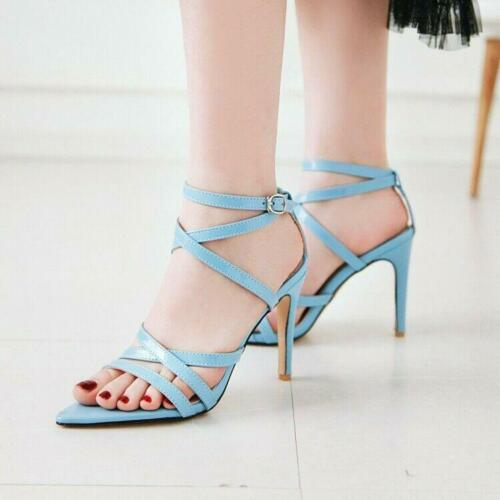 Details about  /Womens Open Toe Dress Pumps High Heel Ankle Strappy Sandal Shoes plus size