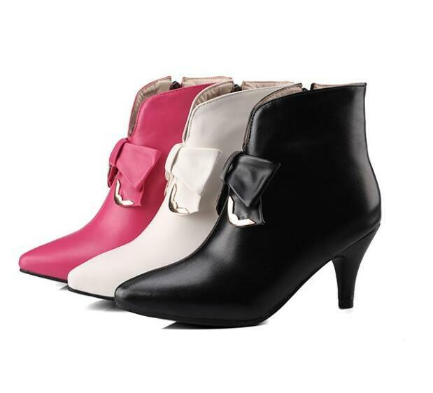New Womens Bowtie Kitten Heel Pointed Toe Party Ankle shoes Boots Pumps Plus Sz