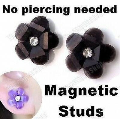MAGNETIC clip on FLOWER STUD EARRINGS non-pierced studs LUCITE crystal BLACK