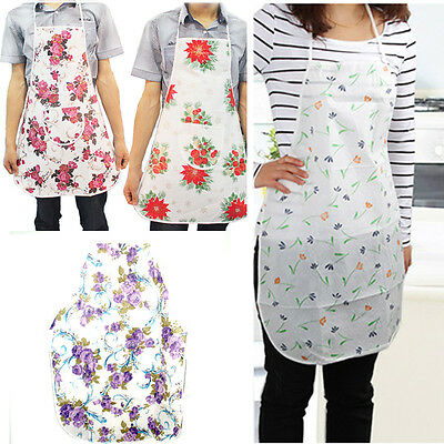 Lady Women Flower Apron Home House Kitchen Restaurant Waterproof Cooking Dress