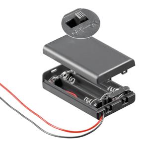 Batteriehalter Batteriefach für 3 x AAA Micro Batterien mit Deckel und Schalter
