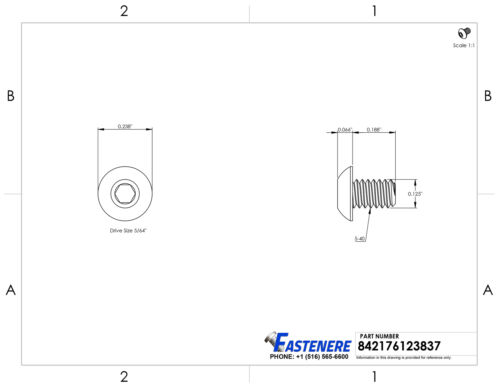 "5-40 x 3//16/"" Button Head Socket Cap Screws Black Oxide Alloy Steel Qty 25"