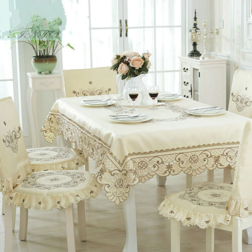 Floral Embroidered Lace Tablecloth European Table Cover Floral Round Square Home