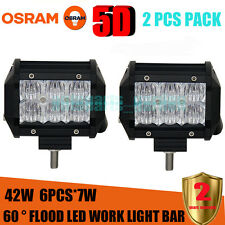 2X 4inch 42W 5D OSRAM Led Light Bar Flood Work Light 4WD Off-road Driving Lamp