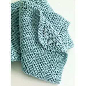 KNITTING PATTERN - EASY-KNIT ARAN WOOL BABY BLANKET 76 cmx76 cm