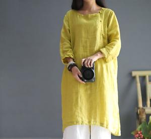 Womens Retro  Mid Long Leisure Cotton Linen Blouse Tops Casual Shirt dress lady