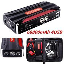 12V 68800mAh 4-USB Auto Car Jump Starter Emergency Power Bank safety hammer New