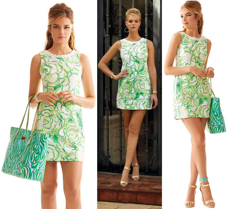 198 Lilly Pulitzer Mila Resort White Heart Breaker Jacquard w  Lace Shift Dress