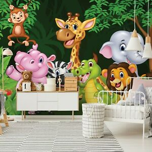 Tapete Fototapete XXL Kinderzimmer Tiere Elefant Zebra ZOO Dschungel - 368x254