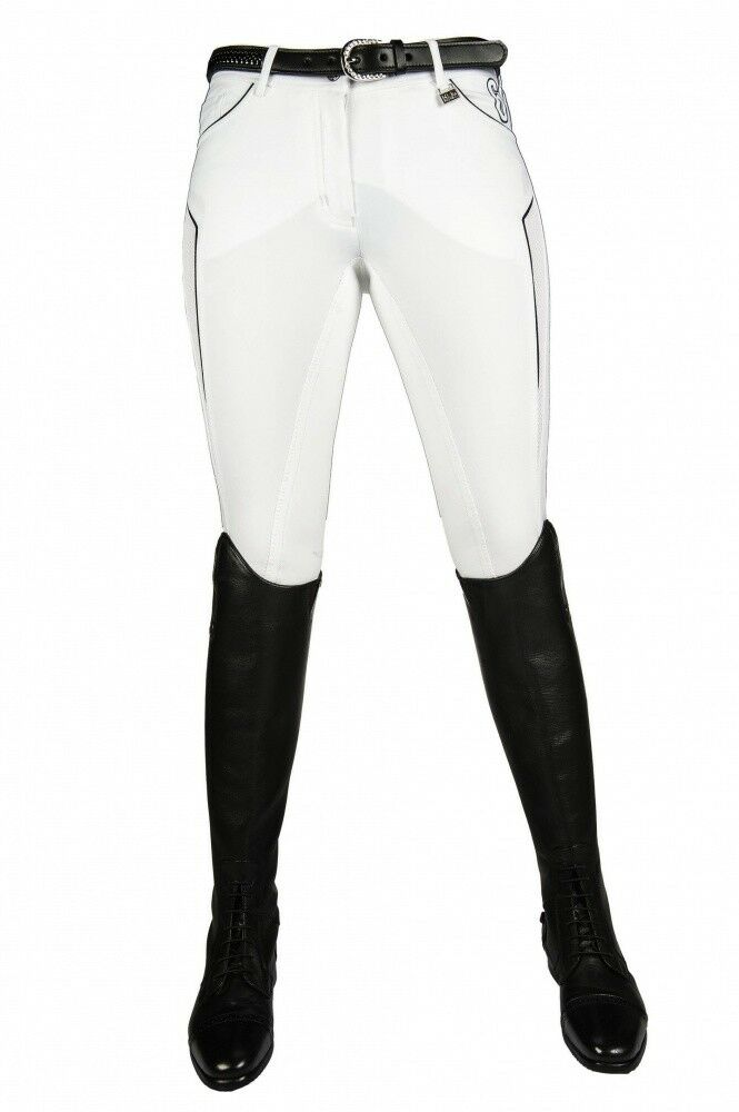 Donna Pantaloni Montala guarnizione in pieno International sportive HKM PRO TEAM BIANCO NUOVO