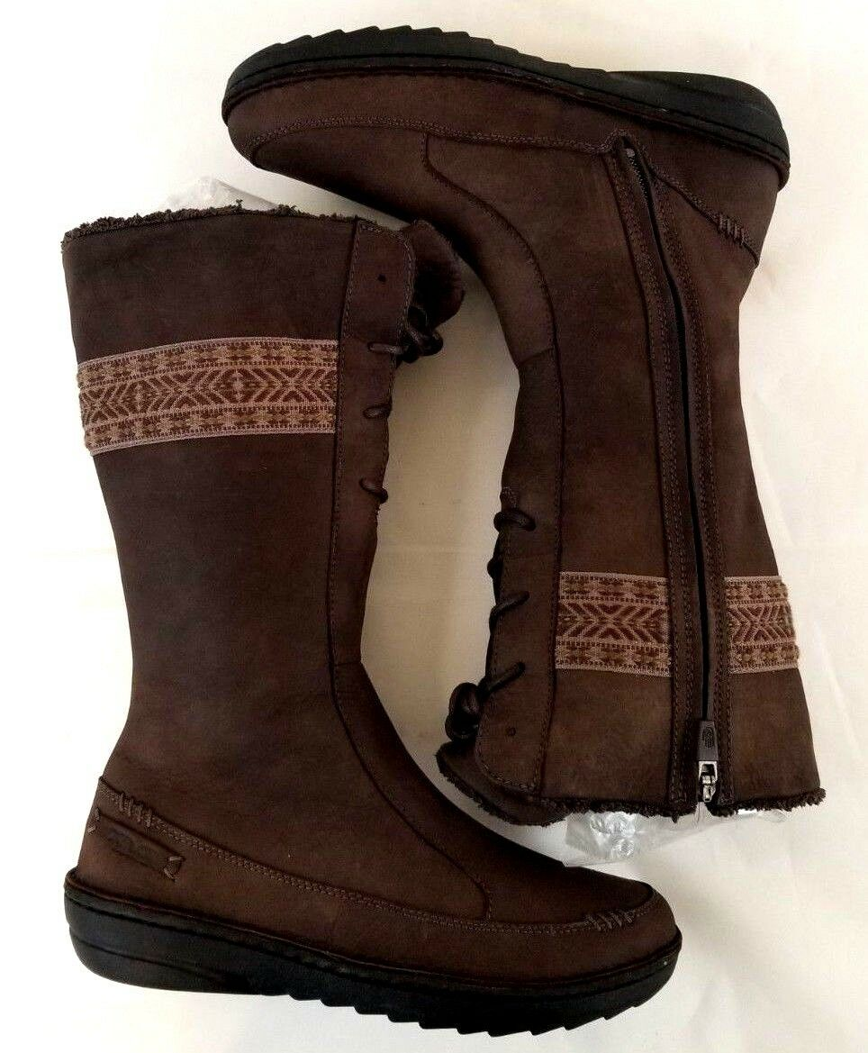 Teva Women's Suede Lined Calf Calf Calf Boots Full Side Zip Spider Rubber Brown US 7 Z927 3e0d71