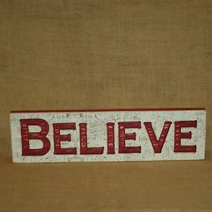 Believe Engraved Wood Sign Hanging Wall Decor Primitives By Kathy