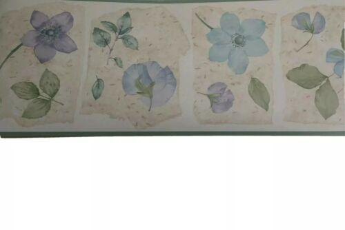 Village Wallpaper Border Flowers Violet Blue Sage Beige Floral Vinyl Pre-pasted