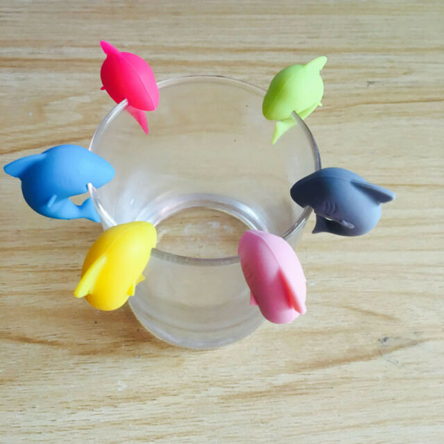 Label Marker Rubber Shark Party Dedicated Tag Silicone Wine Glasses Recognizer