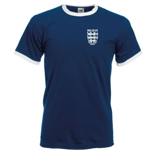 3 LEONI credere piccoli Crest Inghilterra Coppa del Mondo di Calcio 2018 Ringer T-shirt da uomo