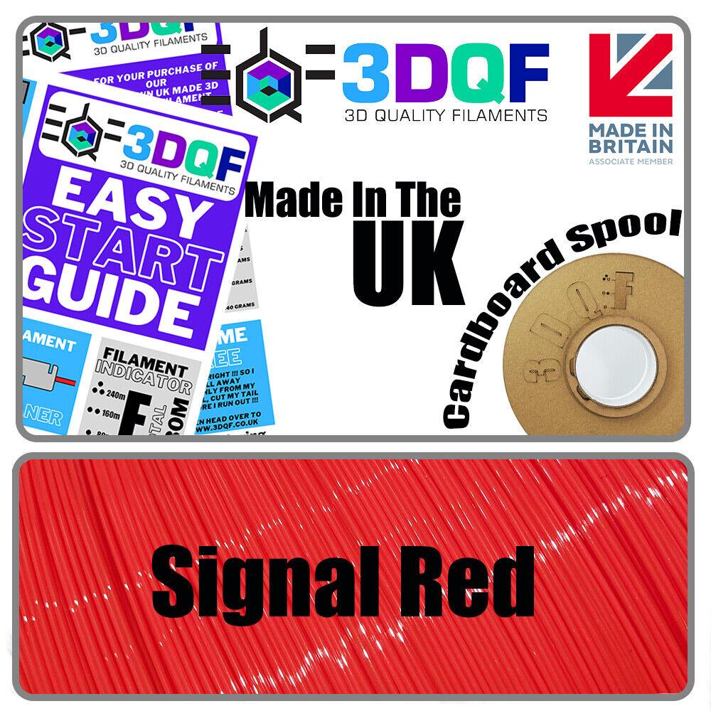 3DQF UK Manufactured Signal Red 3D Printing Filament 1.75mm PLA 1KG