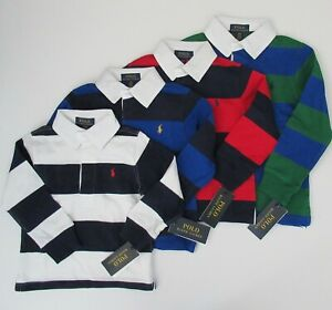 NWT Polo Ralph Lauren Boys Long Sleeve Rugby Polo Shirt Size 2//2T Navy Stripes