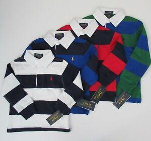 NWT-Ralph-Lauren-Boys-Long-Sleeve-Navy-Striped-Jersey-Rugby-Shirt-Sz-4-5-NEW-45
