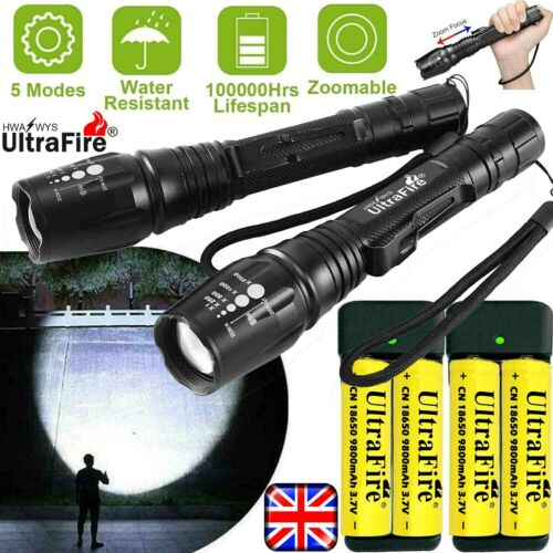 UK 350000LM Zoom CREE T6 LED Rechargeable Torch Flashlight Work Light Headlamp #