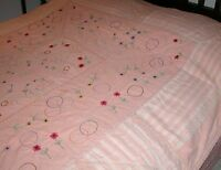 """VINTAGE HAND MADE 20TH C EMBROIDERED PINK QUILT 64"""" X 74"""""""