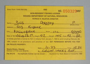 Details about 1993 Indiana DNR Fish & Wildlife Non Resident Fishing  License   Free Shipping!
